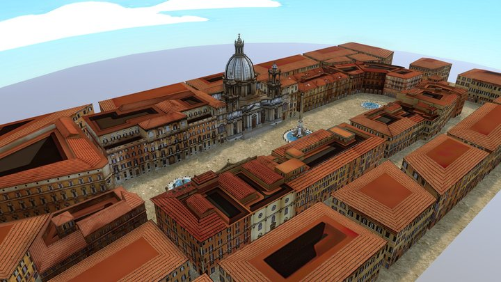 Piazza Navona lowpoly Toon 3D Model