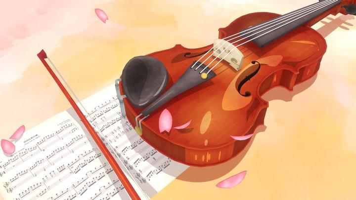 Violin - Your Lie in April 3D Model