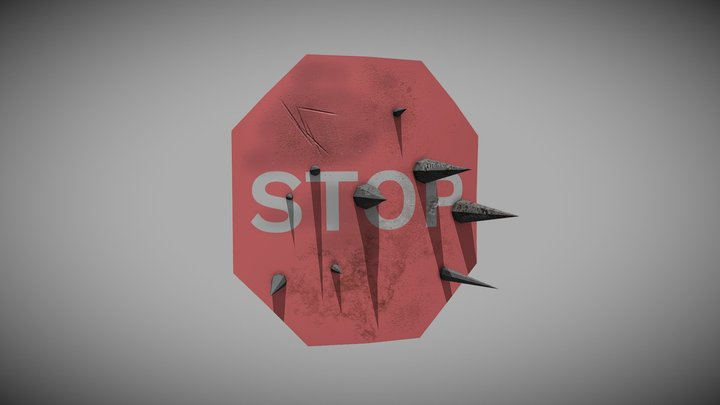 Post Apocalyptic Stop Sign Shield 3D Model