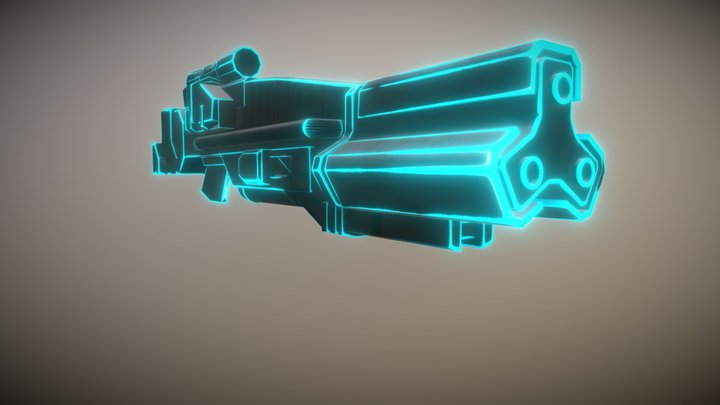 Sci-Fi Neon Gun 3D Model