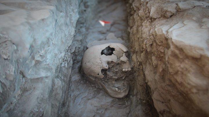 Buried head. Medieval necropolis 3D Model