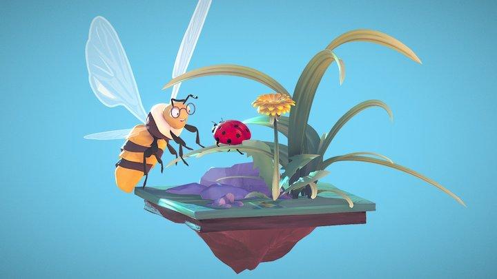 Bee and Ladybug 3D Model