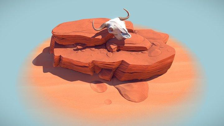 Buffalo Skull Diorama 3D Model