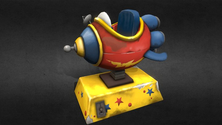Rocket ship kiddie ride 3D Model