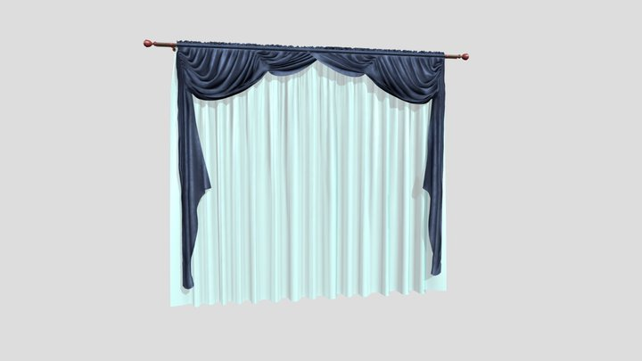 №1004 Curtain 3D low poly model for VR-projects 3D Model