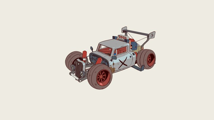 Cell shaded Hotrod 3D Model