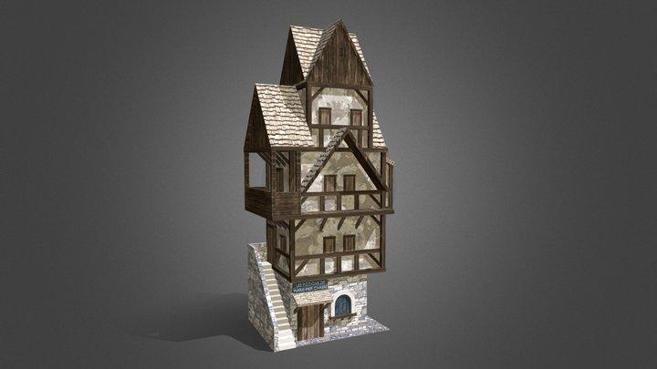 Bâtiment médiéval pour un niveau de jeu 3D Model