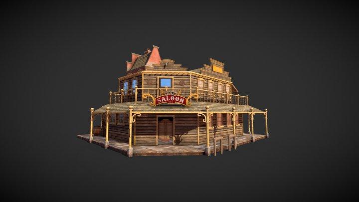 Western Saloon Low Poly Building 3D Model