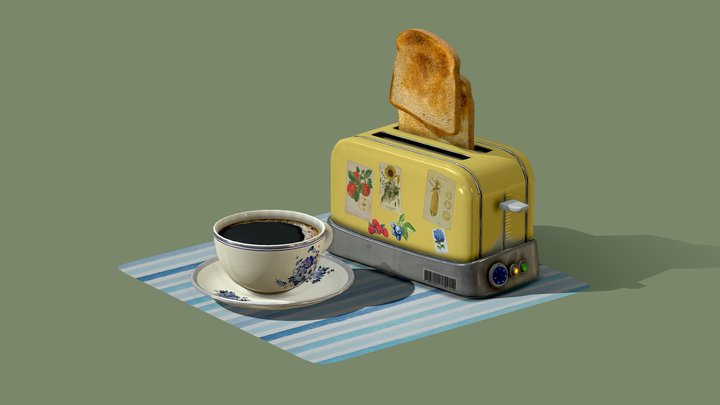 coffee and toasts 3D Model