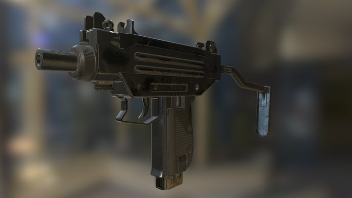 Micro-Uzi Submachine Gun 3D Model