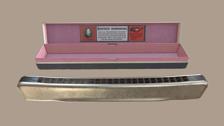 M.Hohner Harmonica with Box 3D Model
