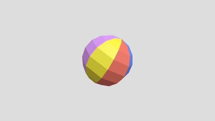 Low Poly BeachBall 3D Model
