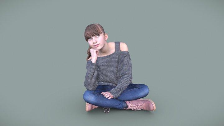 Lisa 10728 - Sitting Casual Kid 3D Model