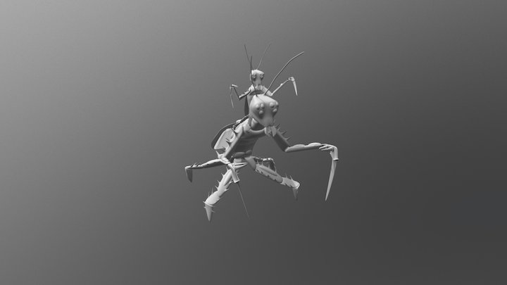 White-shaded animation Giant Mantis test 3D Model