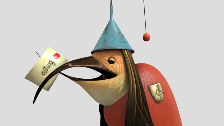 Bird With Letter 3D Model
