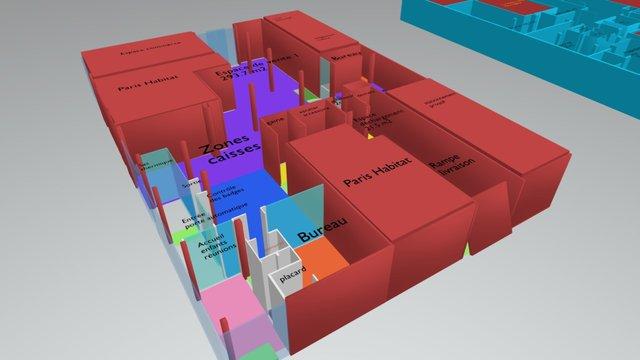 PLAN-LOUVE-COMPLET-Rez et sous sol 3D Model