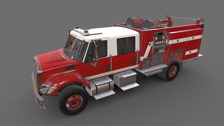 Fire Truck International Red 3D Model