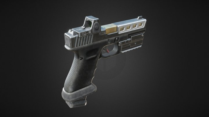 Glock 17 Pistol with Attachments 3D Model