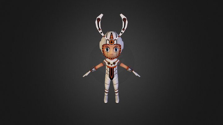 White Sentai - Lowpoly Game Character 3D Model