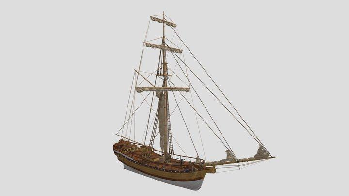 Swedish royal yacht Amadis 3D Model