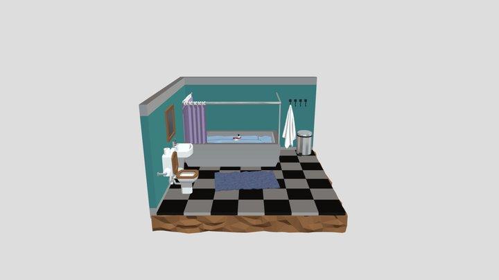 Low Poly Isometric Bathroom 3D Model