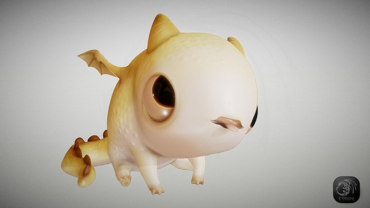 Pebble dragon Sunny 3D Model
