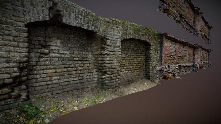 photorealistic semi modular brick wall 3D Model
