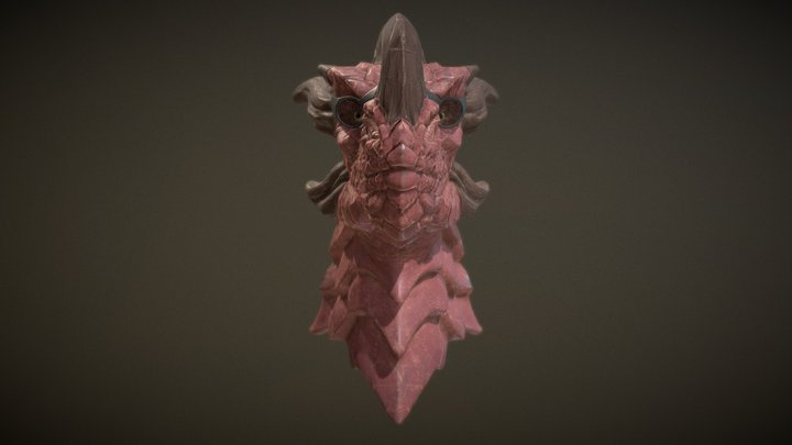 Dragon Head with glasses 3D Model