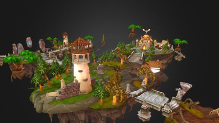 Island With All Objets from Siege of Heroes 3D Model