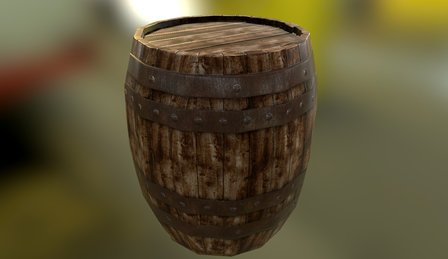 Textured Wood Barrel 3D Model