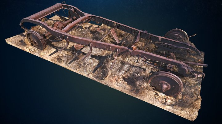 Old Rusted Vehicle Frame on Historic Ranch 3D Model