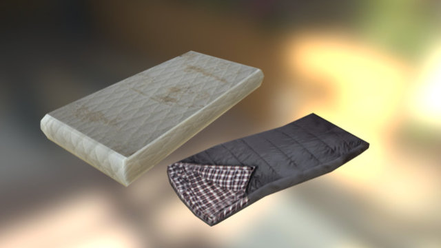 Mattress & Sleeping bag 3D Model