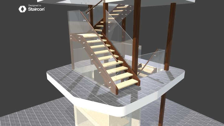Glass Balustrade example A 3D Model