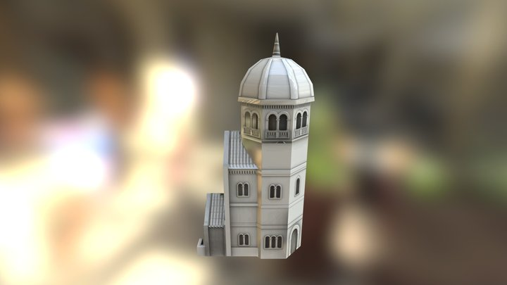 Romanesque Tall Low Poly 3D Model