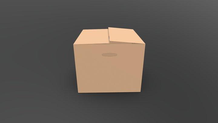 Simple Low Poly Cardboard Box 3D Model