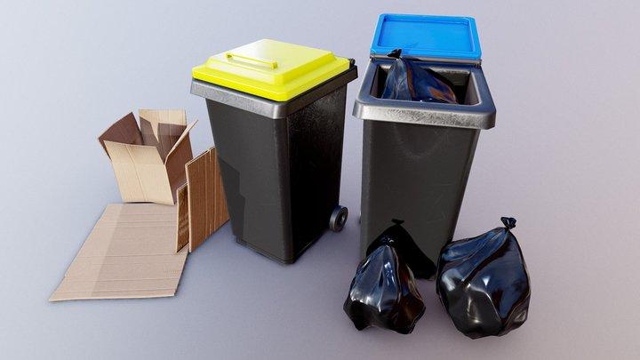 Trashcan + Cardboard box - GameReady Unity/Ue4 3D Model