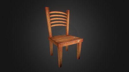 Wooden Chair Lowpoly 3D Model