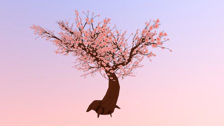 Hand Painted Sakura Tree 3D Model