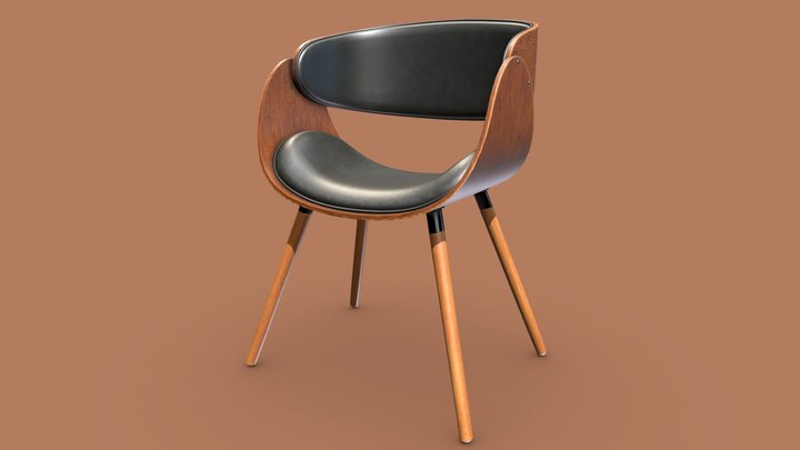 Corvus-Mid-century-Modern-Accent-Chair 3D Model