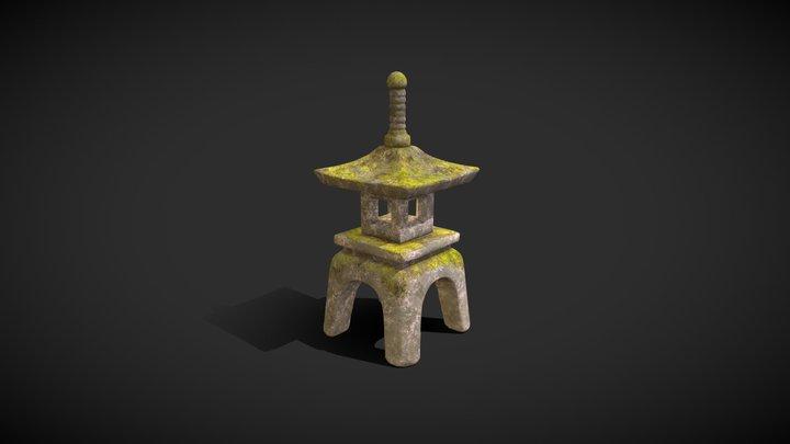 Stone Lantern - Moss Covered 3D Model