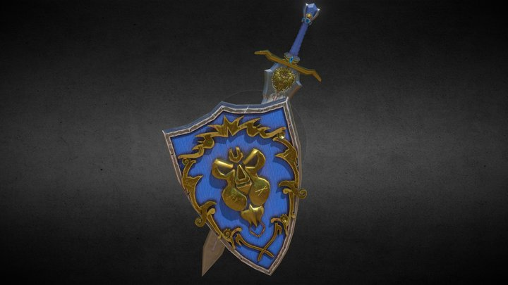 Warcraft Sword and Shield Alliance 3D Model