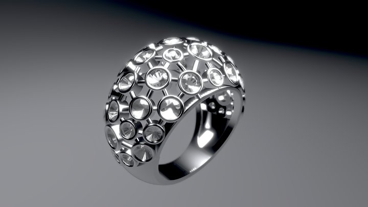 Jewelry. Diamonds ring 3D Model