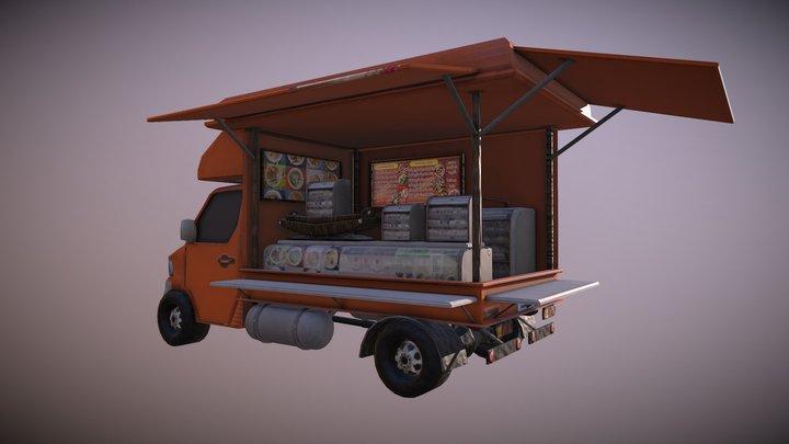 Thailand truck noodle shop low poly 3D Model