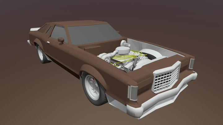1977 Ford Thunderbird Turbo Coupe Hoodless 3D Model