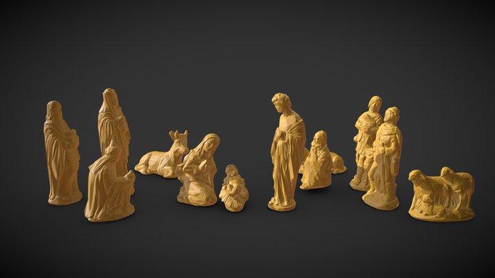 Nativity Crib figures - Low Poly 3D print model 3D Model