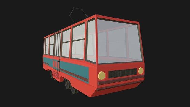 Low Poly Tram 3D Model