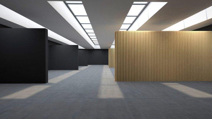 Black & White VR Gallery for Product Showcase 4K 3D Model