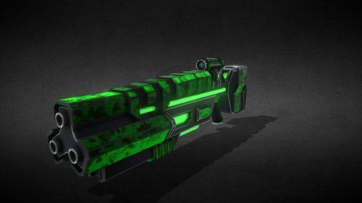 Sci-Fi  Tri-Barrel Rifle 3D Model