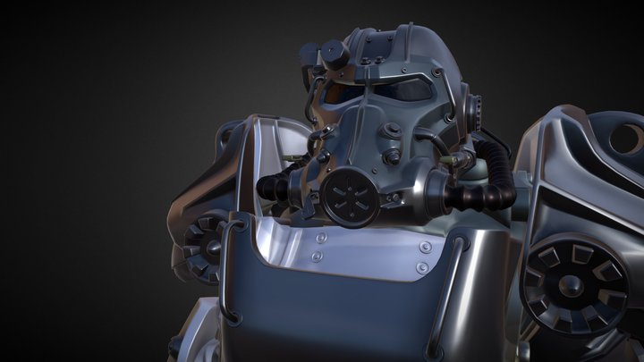 Power Armor T60 with Frame from Fallout 3D Model