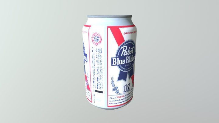 Pabst Can Reduced Baked 3D Model